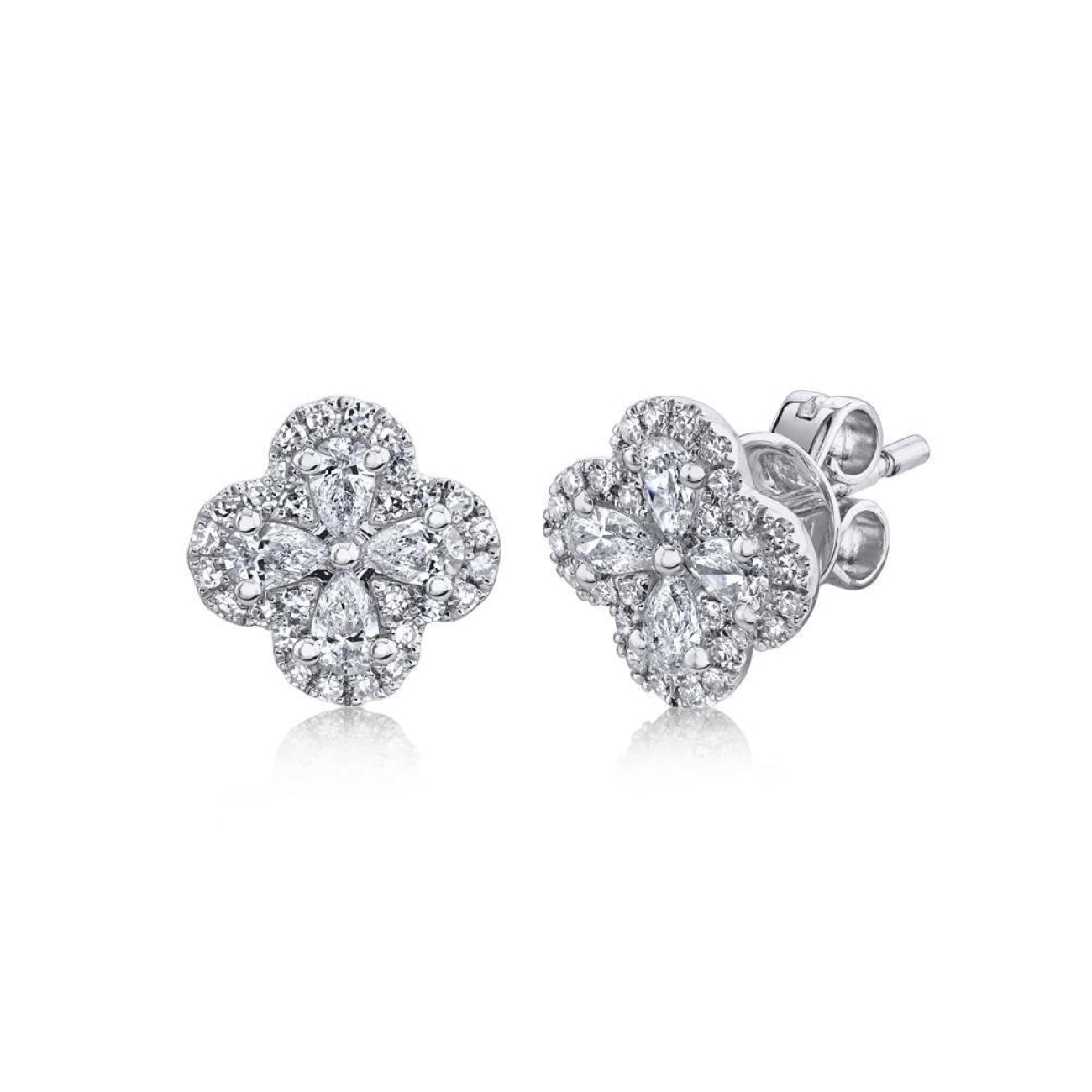 Shy Creation Jewelry - 0.60CT DIAMOND CLOVER STUD EARRING | Manfredi Jewels