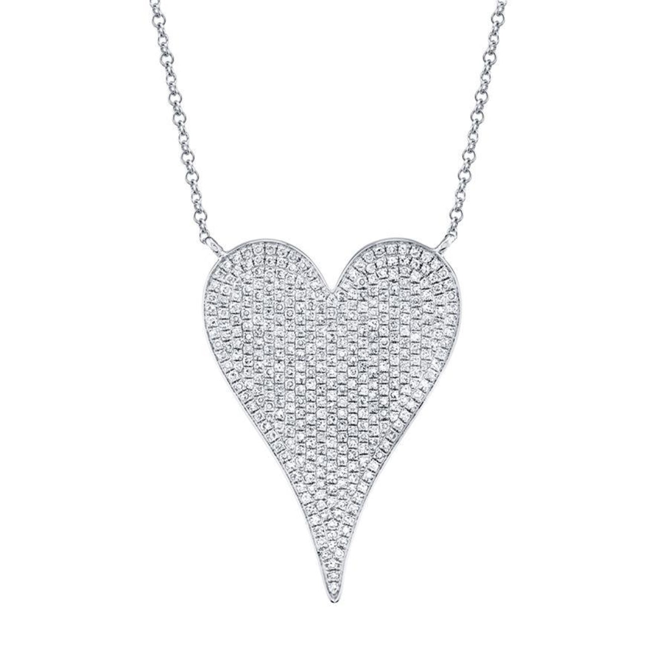 Shy Creation Jewelry - 0.83CT 14K WHITE GOLD DIAMOND HEART NECKLACE | Manfredi Jewels
