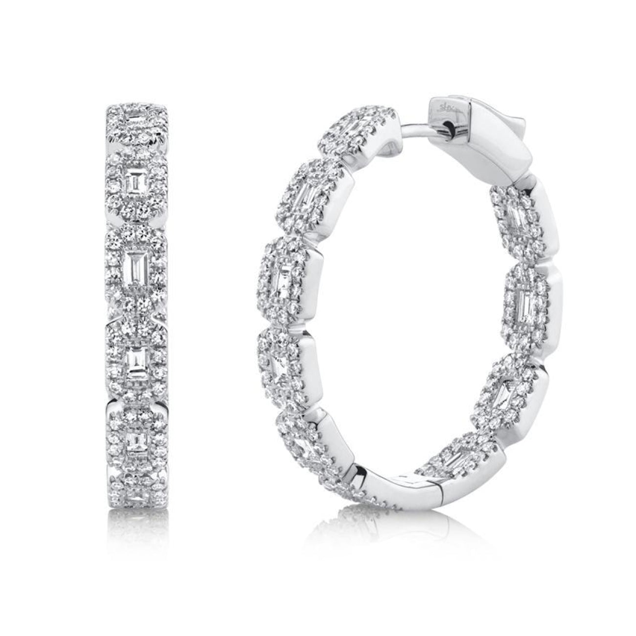Shy Creation Jewelry - 1.35CT 14K WHITE GOLD DIAMOND BAGUETTE HOOP EARRING | Manfredi Jewels