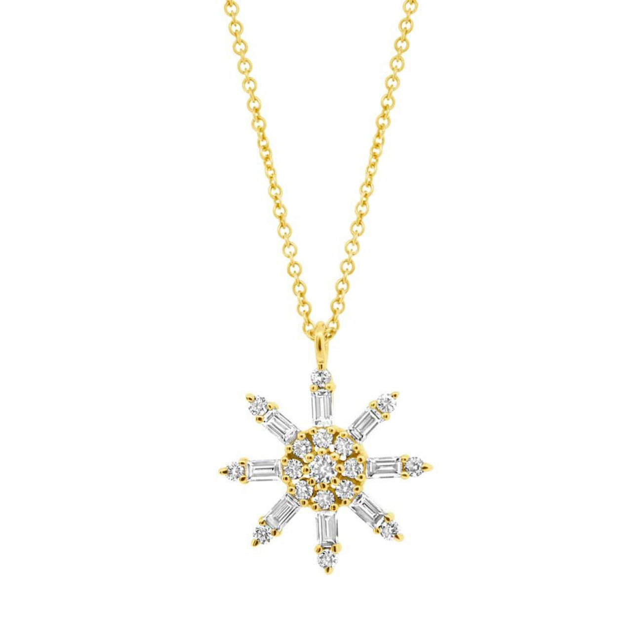 Shy Creation Jewelry - 14k Yellow Gold Diamond Baguette Necklace | Manfredi Jewels