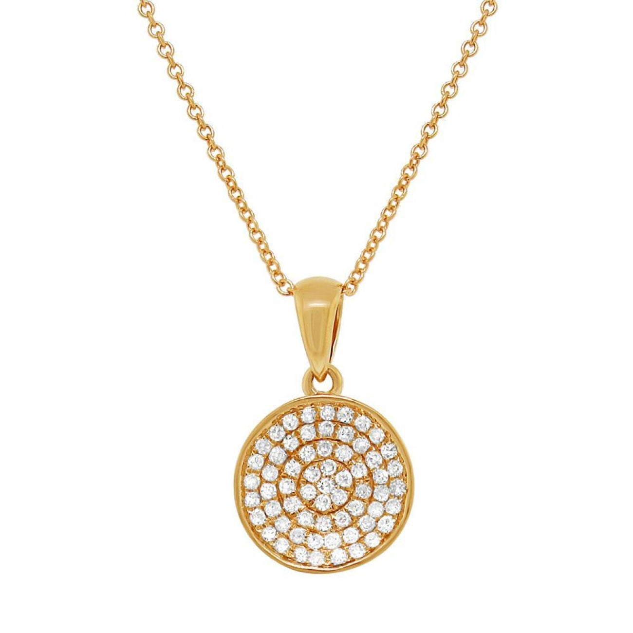 Shy Creation Jewelry - 14k Yellow Gold Diamond Pave Pendant | Manfredi Jewels