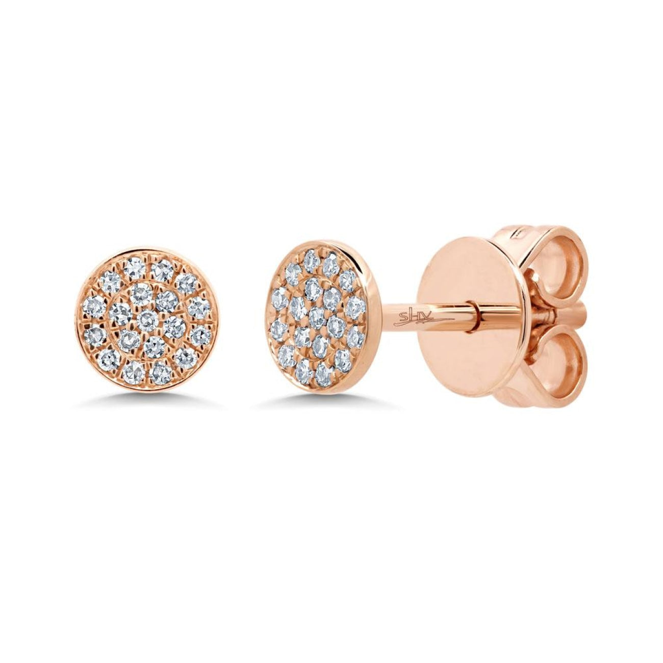 Shy Creation Jewelry - Rose Gold Diamond Pave Stud Earring | Manfredi Jewels