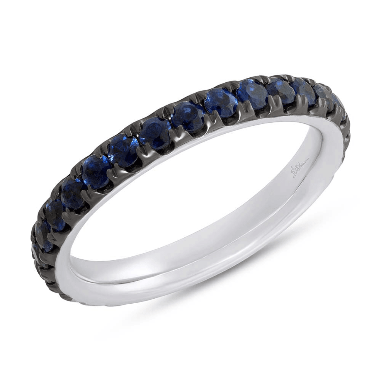 Shy Creation Jewelry - White Gold Blue Sapphire Eternity Band | Manfredi Jewels