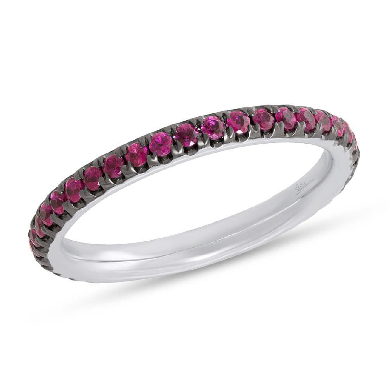 Shy Creation Jewelry - White Gold Ruby Eternity Band | Manfredi Jewels