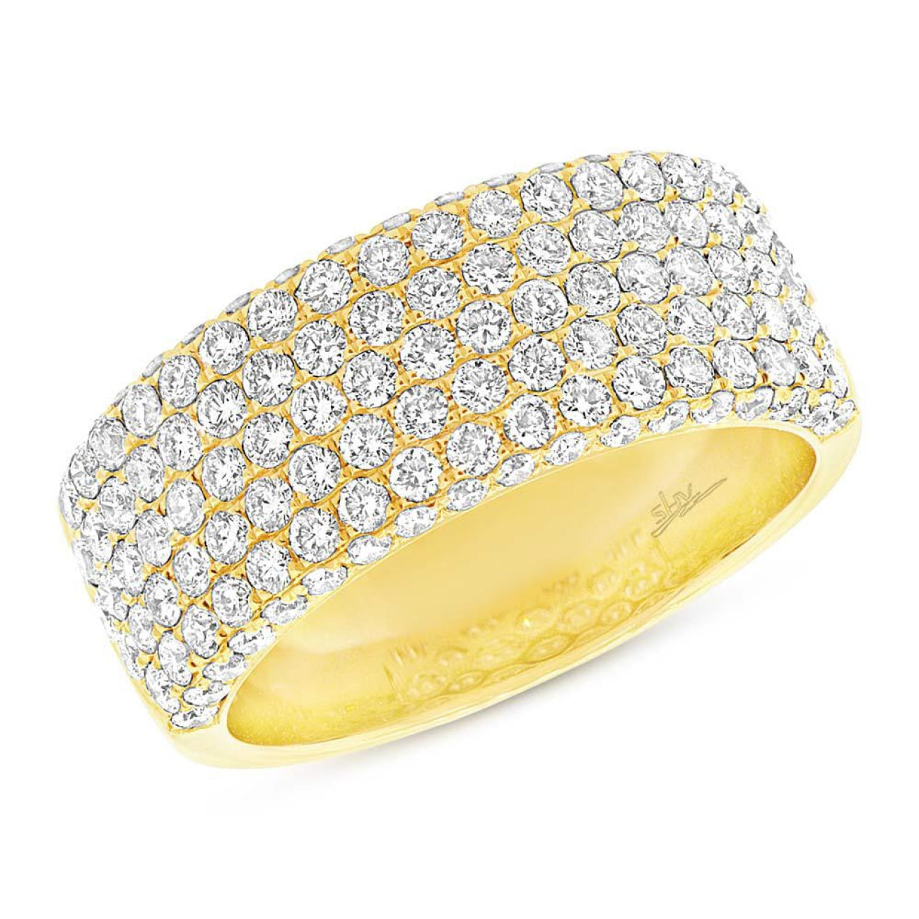 Shy Creation Jewelry - Yellow Gold Diamond Ladys Pave Band | Manfredi Jewels