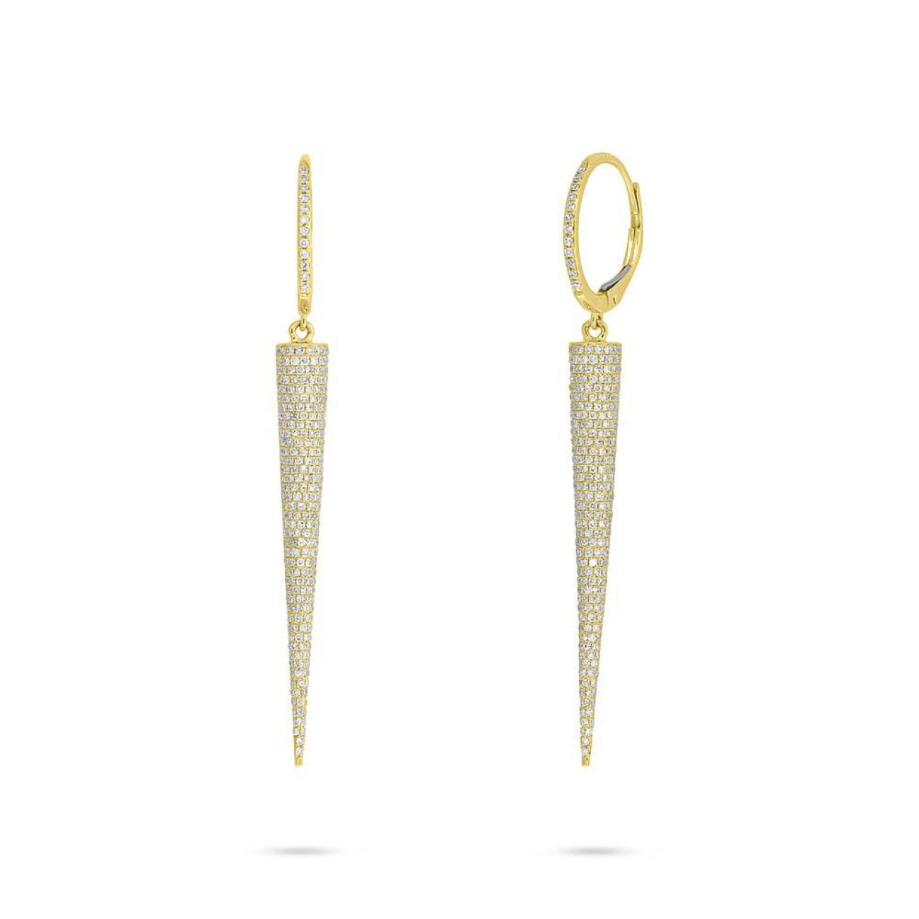 Shy Creation Jewelry - Yellow Gold Diamond Pave Cone Earring | Manfredi Jewels