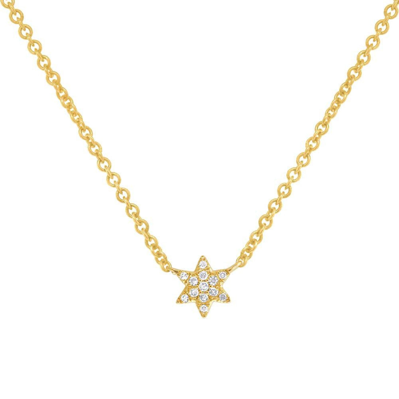 Shy Creation Jewelry - Yellow Gold Diamond Star of David Necklace | Manfredi Jewels