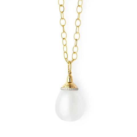 Syna Jewelry - 35 Carat Moon Quartz and Diamond 18k Mogul Drop Pendant | Manfredi Jewels