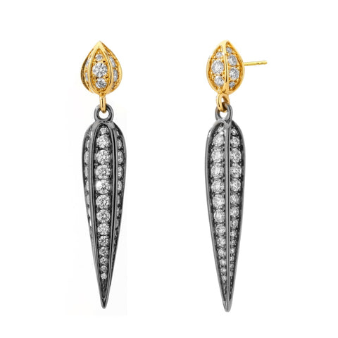Syna Jewelry - Champagne Diamond Dangle Earrings 1.75 Carats | Manfredi Jewels