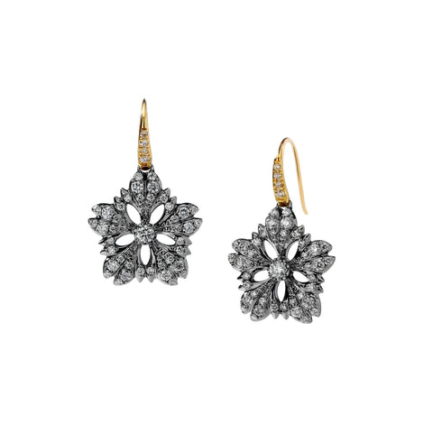 Syna Jewelry - Diamond Flower Earrings in Oxidized Silver and 18k Yellow Gold | Manfredi Jewels