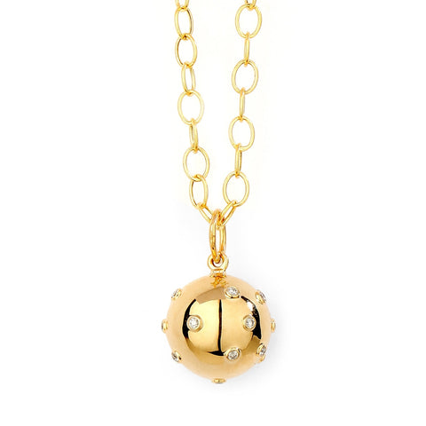 Syna Jewelry - Gold Disco Ball Pendant with Champagne Diamonds | Manfredi Jewels
