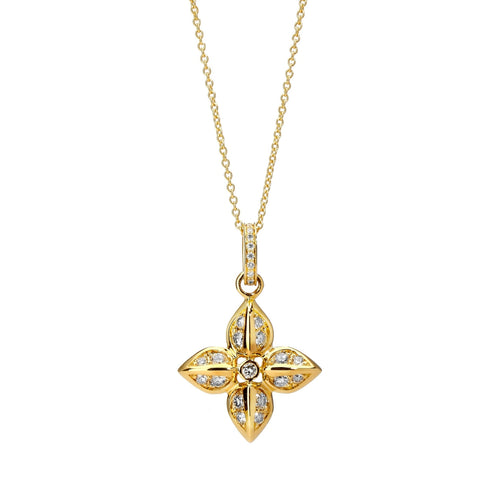 Syna Jewelry - Love Flower Diamond Necklace 18k Yellow Gold | Manfredi Jewels