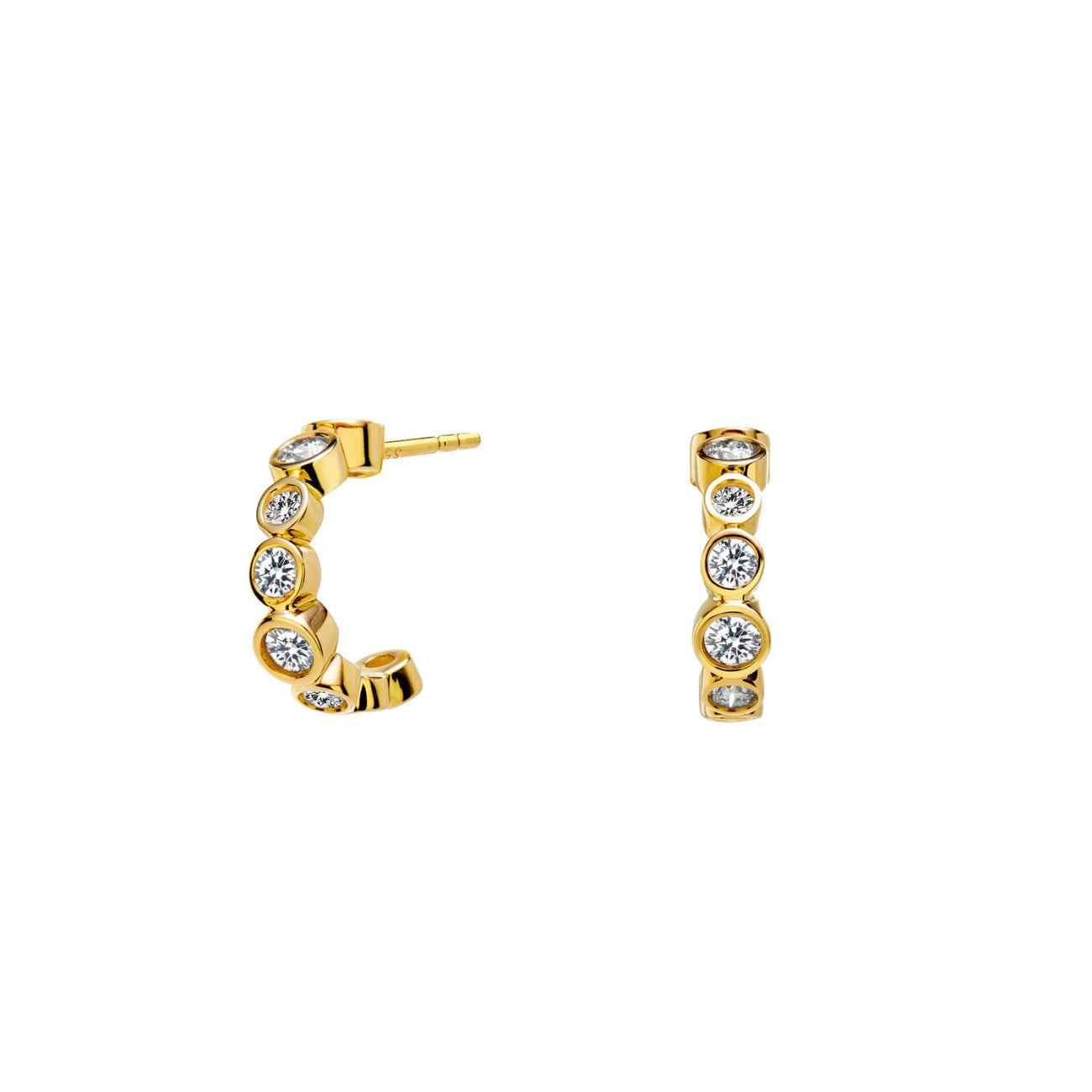 Syna Jewelry - Syna Mini Hoop Champagne Diamond Earrings 18k | Manfredi Jewels
