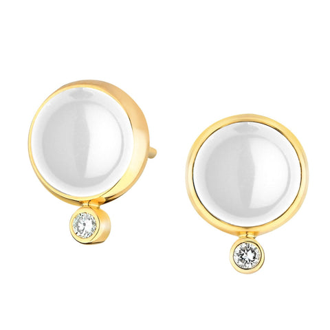 Syna Jewelry - Syna Moon Quartz Earrings with Champagne Diamonds Yellow Gold | Manfredi Jewels