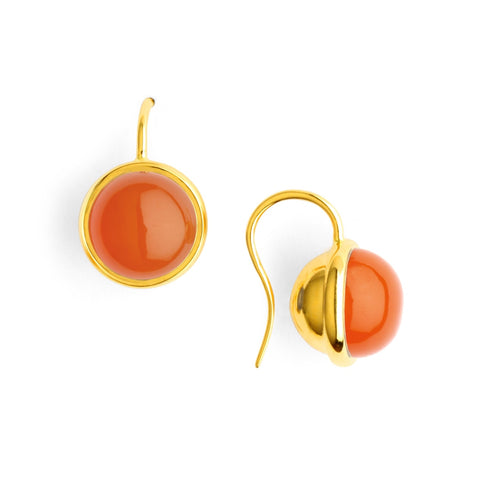 Syna Jewelry - Syna Orange Chalcedony Baubles Earrings 18k Yellow Gold | Manfredi Jewels