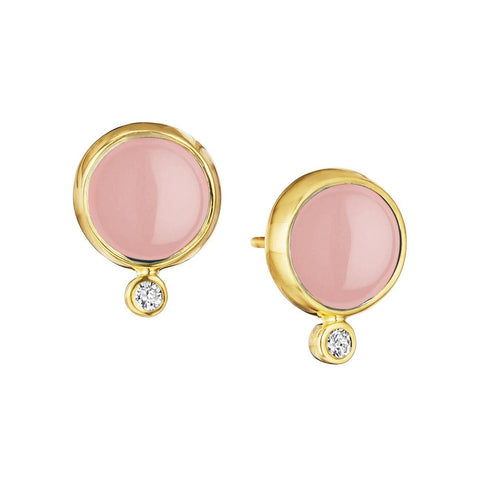 Syna Jewelry - Syna Pink Chalcedony Earrings with Champagne Diamonds Yellow Gold | Manfredi Jewels