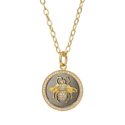 Syna Jewelry - Queen Bee Diamond Pendant 18k Yellow Gold and Oxidized Silver | Manfredi Jewels