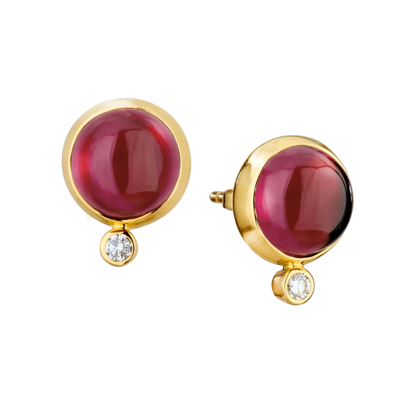 Syna Jewelry - Syna Rhodolite Garnet Earrings with Champagne Diamonds Yellow Gold | Manfredi Jewels
