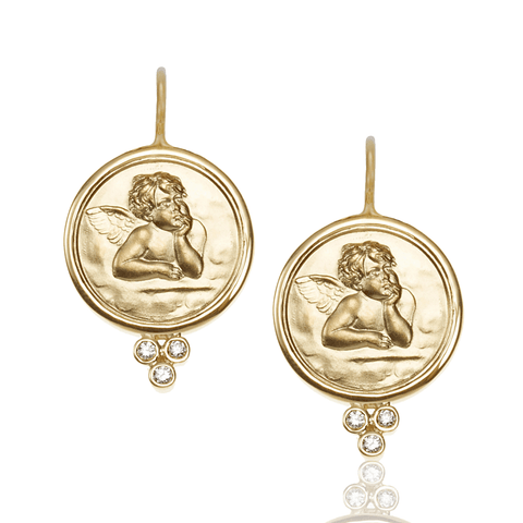 Temple St Clair Jewelry - 18K Angel Earrings with diamond | Manfredi Jewels