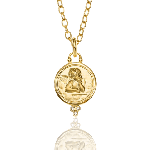 Temple St Clair Jewelry - 18K Angel Pendant with diamond granulation | Manfredi Jewels