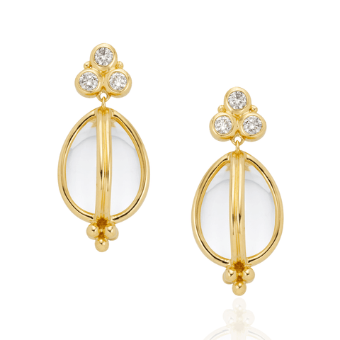 Temple St Clair Jewelry - 18K Classic Amulet Earrings with rock crystal and diamond granulation | Manfredi Jewels