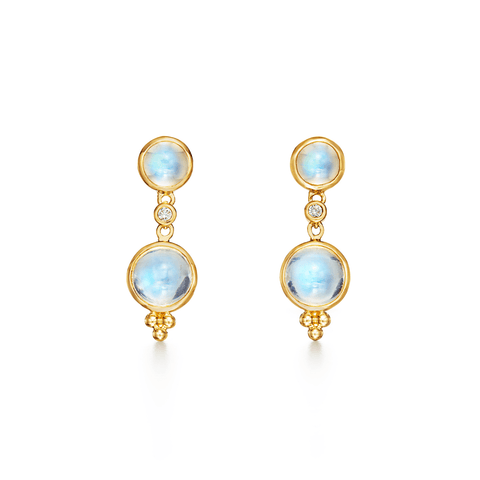 Temple St Clair Jewelry - 18K Double Drop Earrings with diamond | Manfredi Jewels