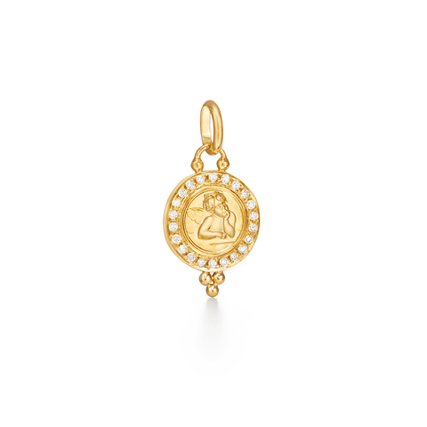 Temple St Clair Jewelry - 18K Pave Angel Pendant with diamond | Manfredi Jewels