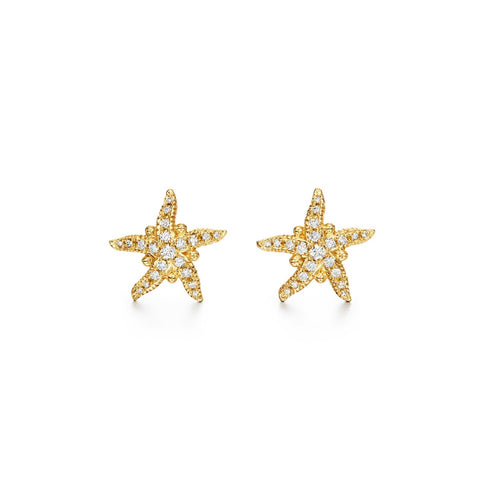 Temple St Clair Jewelry - 18K Pavé Sea Star Earrings | Manfredi Jewels