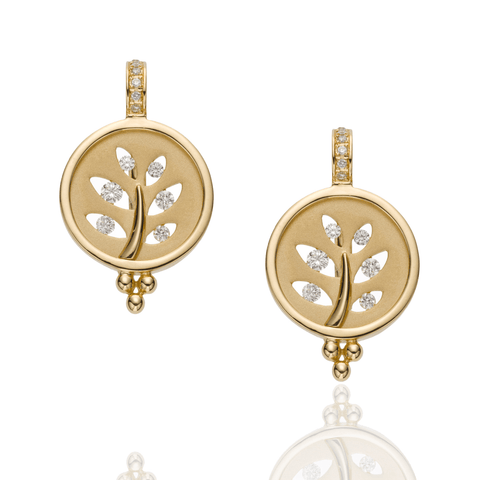 Temple St Clair Jewelry - 18K Tree Cutout Earrings with diamond pavé | Manfredi Jewels