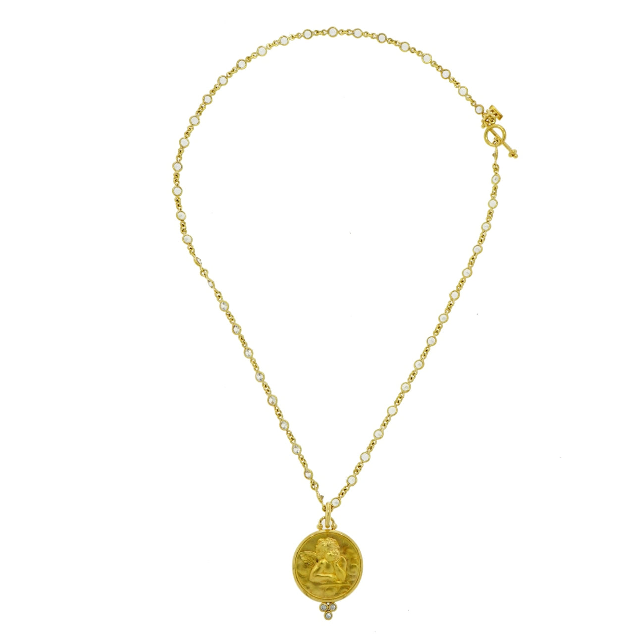 Temple St Clair - Estate Jewelry Estate Jewelry - Temple St Clair Angel Pendant with Yellow Gold White Sapphires Chain | Manfredi Jewels