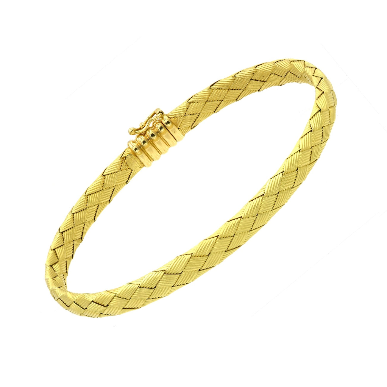 VERGANO Jewelry - Vergano Italian 18k Yellow Gold Basket Weave Flexible Bangle | Manfredi Jewels