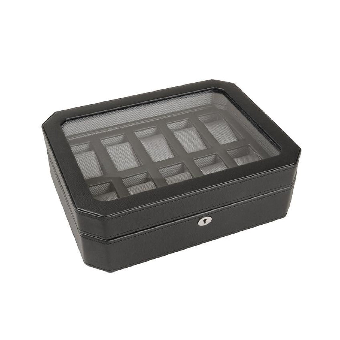 Wolf Accessories - WINDSOR 10 PIECE WATCH BOX - Black | Manfredi Jewels