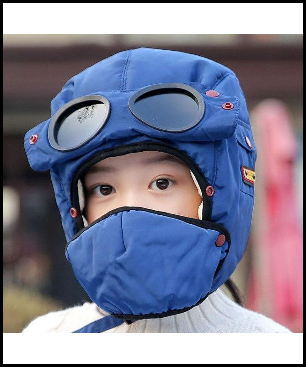 60faa39e56a ... Bomber Hats Women Men Child Winter Windproof Ski Cap With Ear Flaps And  Mask Pilot Goggles ...