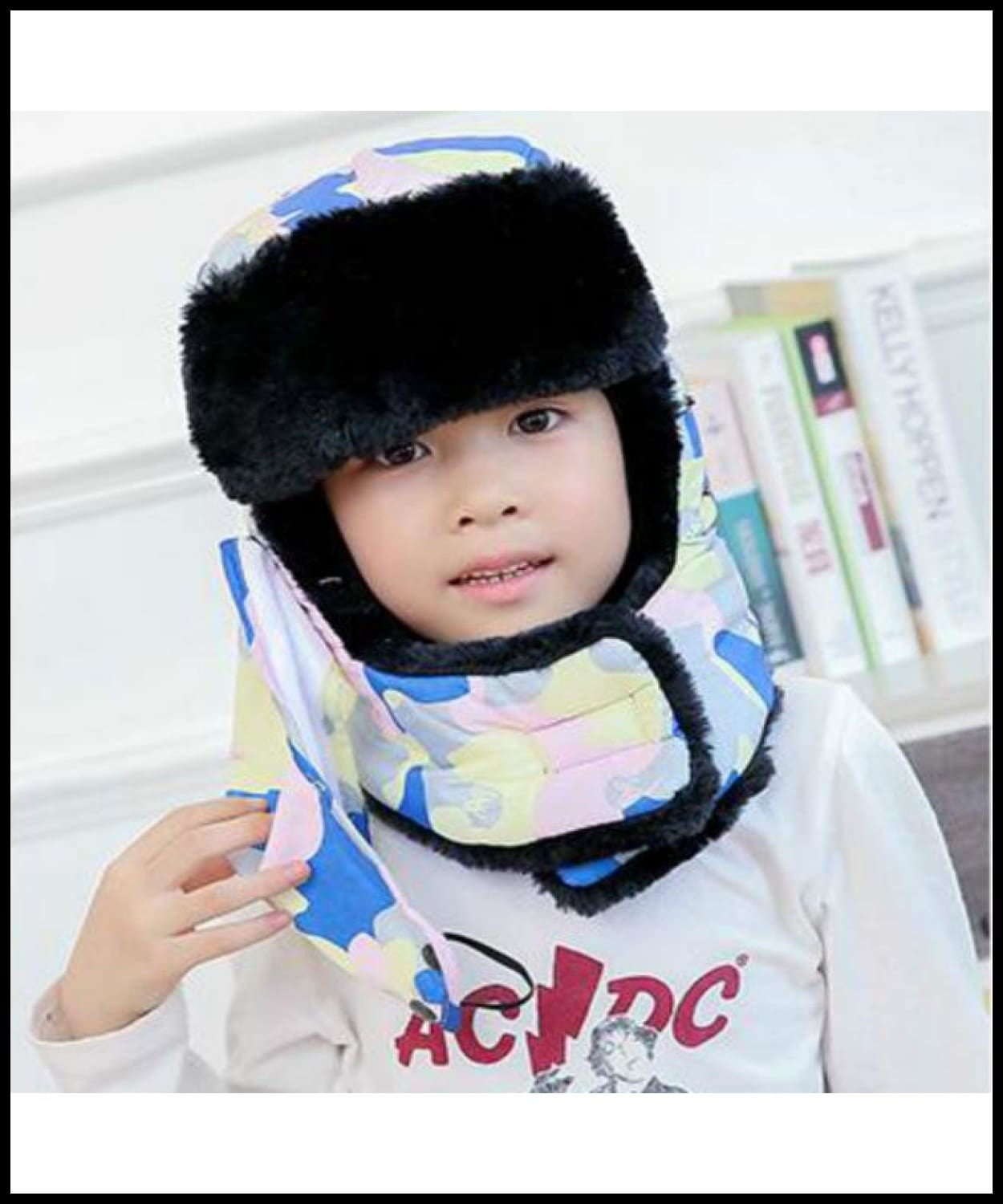 30225a01d40 ... Camo Bomber Hat For Women Girl Thickened Neck Warmer Winter Hat Scarf  Mask Ear Flap Cap ...
