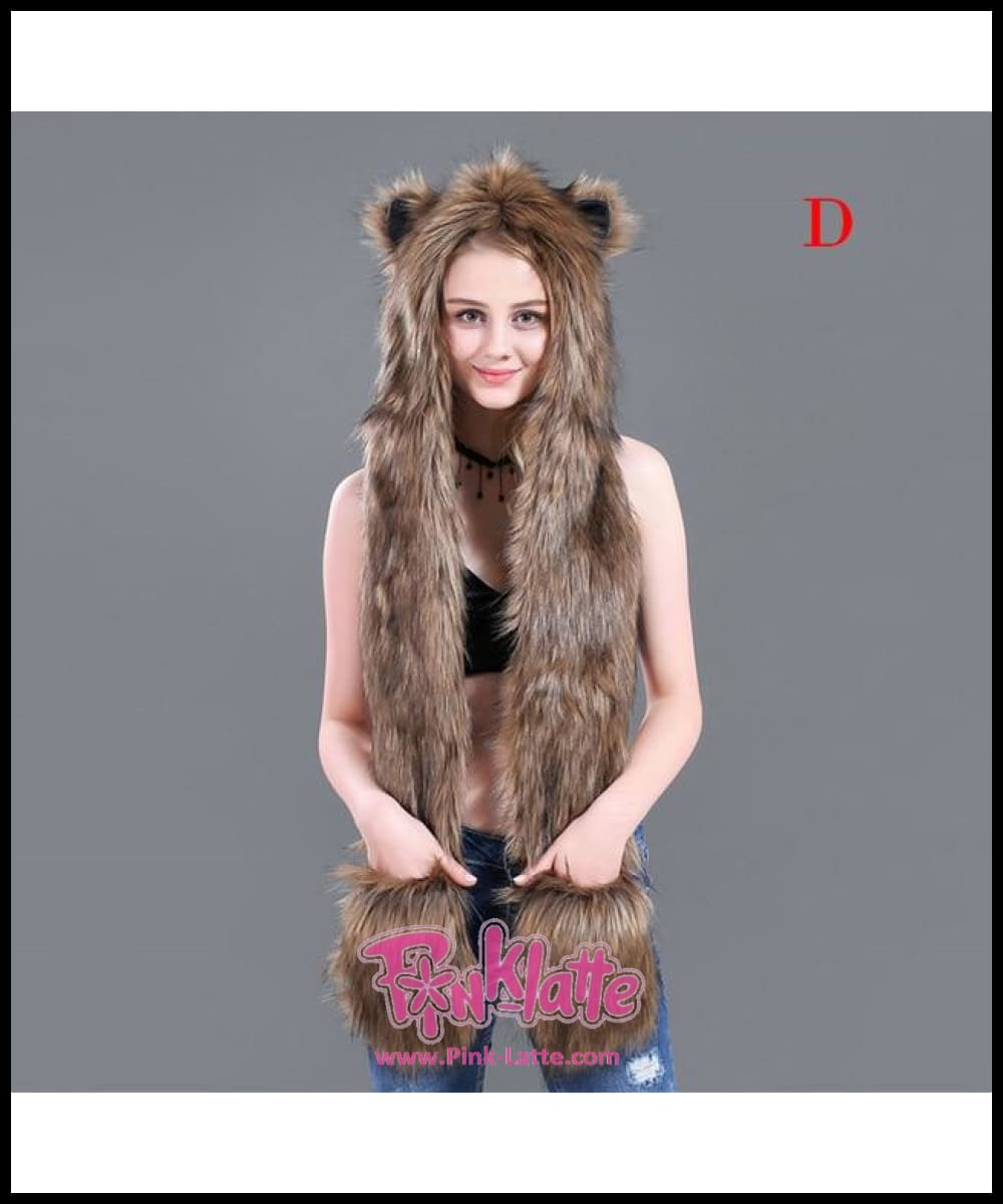 6b34dab13c3 ... Faux Fur Animal Hat Scarf Gloves Winter Mittens 3 In 1 Function Hoodie  With Paws Ears ...