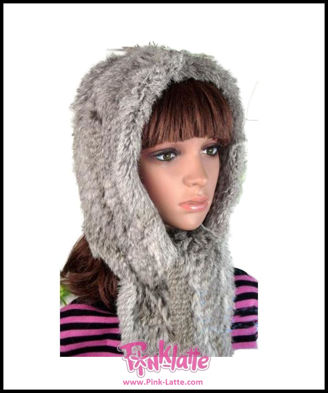 Real Rabbit Fur Hats With Scarf For Women 2018 Winter Fashion Real Fur Hat  With Ears ... 7370eccd334