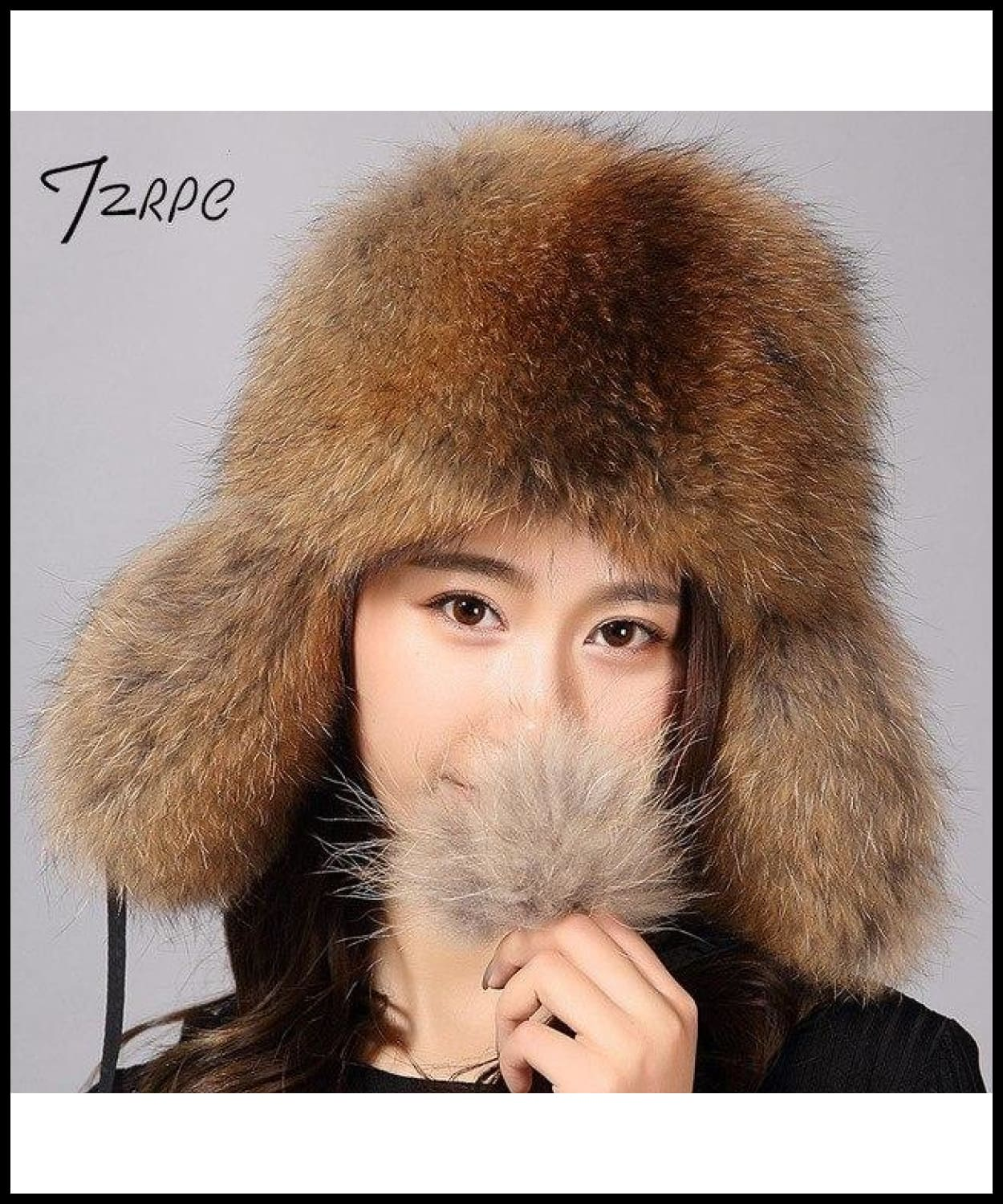 ... Tzrpc Fur Hat For Women Natural Raccoon Fox Fur Russian Ushanka Hats  Winter Thick Warm Ears ... a32056081234