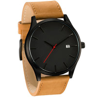Stainless Steel Casual Quartz Men's Watch with Leather Band