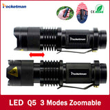 Black 2000LM Waterproof LED Flashlight 3 Modes