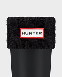 HUNTER - Kids' Six-Stitch Cable Boot Socks: Black