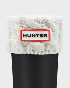 HUNTER - Kids' Six-Stitch Cable Boot Socks: Natural White