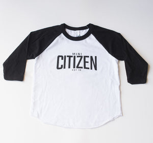 "MINI CITIZEN - ""Mini Citizen Est. 2018"" Youth Poly-Cotton 3/4 Raglan"