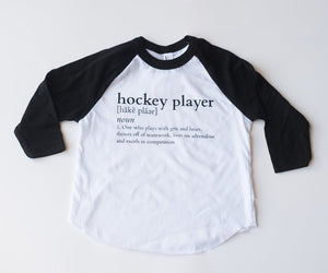 "MINI CITIZEN - ""Hockey Player"" Youth Poly-Cotton 3/4 Raglan"
