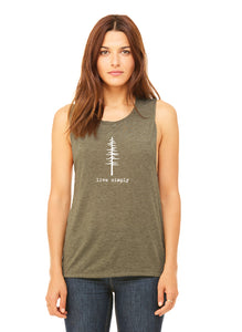 "MINI CITIZEN - ""Live Simply"" Ladies Flowy Scoop Muscle Tank 