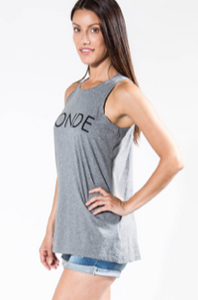 BRUNETTE THE LABEL - The CREW NECK Tank | Heather Grey
