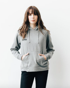 BRUNETTE THE LABEL - The BLONDE Middle Sister Chainstitch Hoodie | Heather Grey