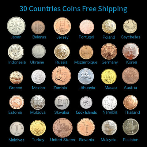 Set 30 Coins from 30 Different Countries,Free Shipping, Exit Circulation,Collectible, 100% Original, Asia Africa America Europe