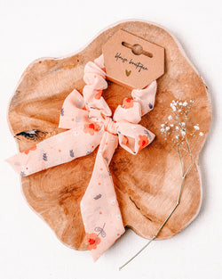Pink Fields Knotted Scrunchie