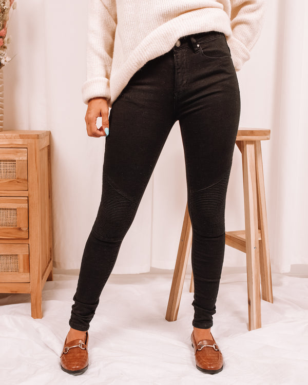 Sunday Morning Black Moto Skinny Jeans
