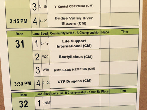 Dragon Boat Association: Race #31 Lineup